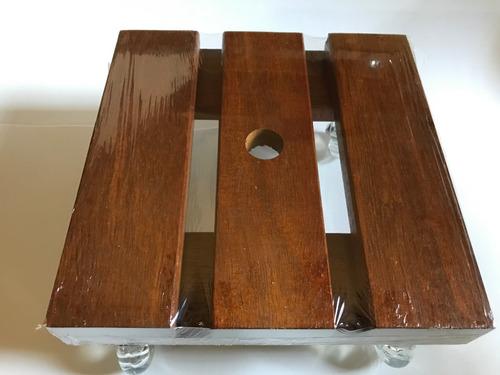 Suporte Madeira Vaso Quadrado 5 De 25cm +  10 De 30cm Roda Gel