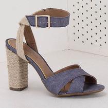 Sandália Salto Feminina Bruna Rocha - Jeans