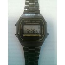 Dgs- Relógio Cassio Unissex Retrô Vintage Preto Pulseira Aço