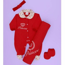 Kit Saída De Maternidade Princesa Vermelho Bebê Menina