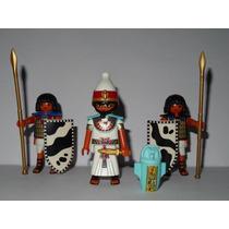 Playmobil Egito Trio = Faraó + 2 Soldados Guerreiros
