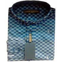 Camisa Social Louis Vuitton Quadriculada Azul Marinho E Azul