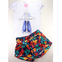 Kit Conjuntos Shorts Saia Menina Bebê Baby+brinde-1 A 2 Anos