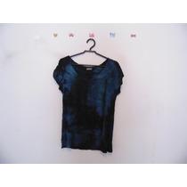 Blusa Feminina Azul Tie-dye Malha Manguinhas Cód. 469