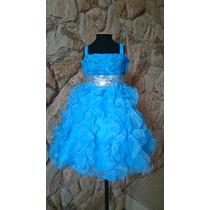 Vestido Infantil/festa/daminha Azul Paetês Elsa Cinderela