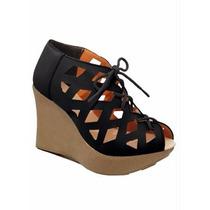 Sapato Sandalia Anabela Gladiadora Salto Plataforma Peep Toe