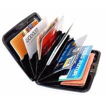 Carteira Porta Cartão Visita Crédito Alumínio Aluma Preta