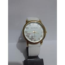 Relógio Feminino Com Borboletas Dourado Pulseira Branca