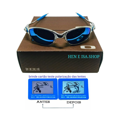 418a55b5549a2 Oculos Oakley Double Xx Platinum Azul + Teste + Frete Gratis