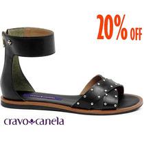 20%off Sandália Rasteira Cravo & Canela Couro Preta 140801