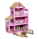 Casa Casinha De Boneca Polly Mdf + 36 Móveis + Parquinho