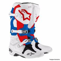 Bota Alpinestars Tech 10 Lxiii 2015 - Branco/azul/vermelho