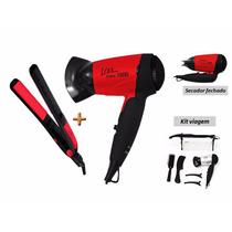 Kit Secador Mini 1500 Bivolt C/kit Viagem+chapinha = Lizz