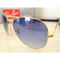 Ray Ban 3025 Aviador Dourado Lente Azul Degrade