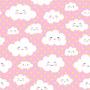 Papel De Parede Infantil Rosa  Nuvens  Adesivo 3 Mts - 1440