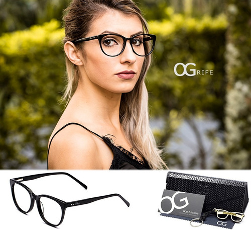 74d4e11b7 Armação Oculos Ogrife Og 538-c Feminino Com Lente Sem Grau à venda ...