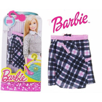Roupa Fashion Barbie Original Mattel Saia Xadrez Novo Dhh47