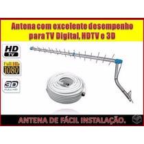Kit Antena Uhf + 20 Mts + 2 Conectores Rg6 + Frete Gratis