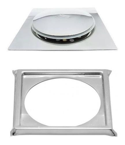 Ralo Click Inteligente Em Inox 10x10 Cm + Porta Grelha