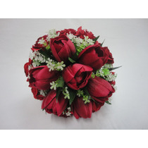Buque Noiva Rosas Tulipas Vermelhas Casamento Permanente