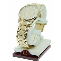Relógio Elgin Fg348 Cristais Autênticos Gold Tone Dourado