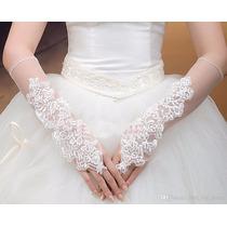 Luva Para Noiva Princesa Fantasia Tule C Elastano E Bordados