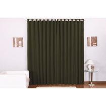 Cortina Verde Rústica P/ Varão Simples 3,00 X 2,80 Duda