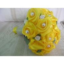 Buquê. Bouquet De Noiva Artificial Amarelo C Perolas