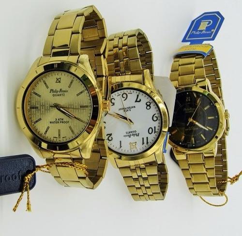 0372d5c6ce5 Relógio Masculino Dourado Aço .foliado A Ouro  Prova D água à venda ...