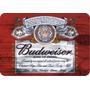 Placa Madeira Budweiser Vintage 28 Cm X 40 Cm - Retrô