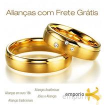 Par Alianças Ouro 18k 9 Gramas 5,5 Mm Noivado E Casamento