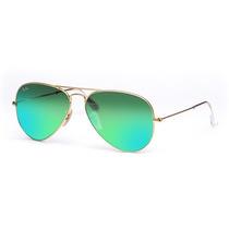 Óculos Ray Ban Aviador Verde Espelhado 12x Sem Juros