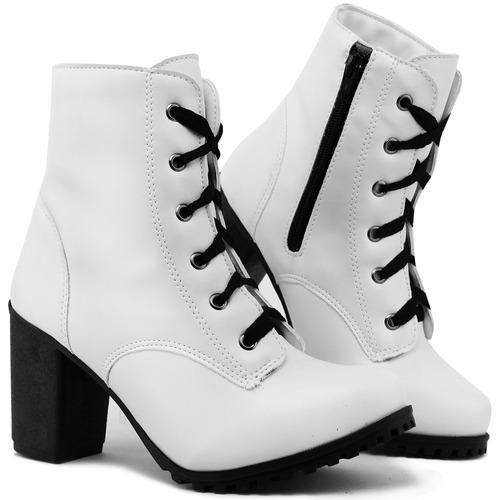 Bota Feminina Tratorada Ankle Boot C  Ziper Branca 54a67508d9