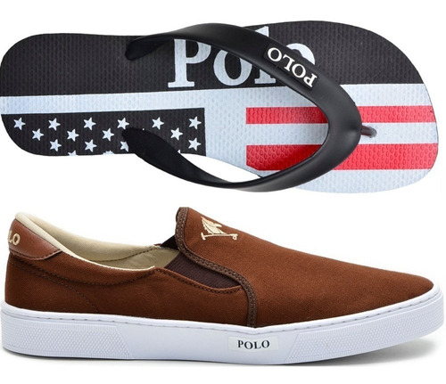3ed602785 Tenis Masculino Sapato Polo Joy Iate Elástico + Chinelo