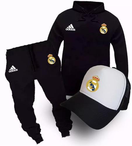 3e080a6fff Conjunto Real Madrid Moletom Calça Boné Blusa D Frio Lindo