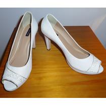 Sapato De Salto Peep Toe Empório Naka, Branco Novo