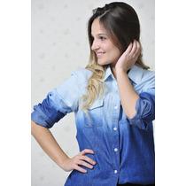 Camisa Feminina Jeans Degrade +calcinha De Brinde Lançamento
