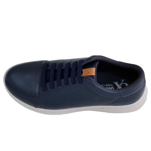 b8637edf59ad0 Sapato Tênis Masculino Couro Azul Usaflex Conforto 9801