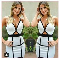 Vestido Feminino 3d Bicolor Panicat Com Bojo Envio Imediato