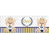 Faixa Decorativa Adesivo Parede Bebe Urso Rei Realeza