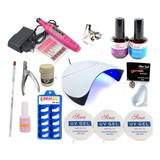 Kit Unhas Gel Uv Acrigel Lixa Eletrica Cabine Fibra Sina