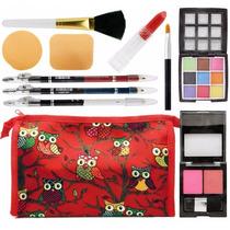 Combo Kit Maquiagem 10 Itens Necessaire Blush Batom Pinceis
