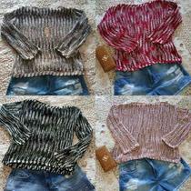 Blusa Trico Tricot Renda Feminina Luxo!!!