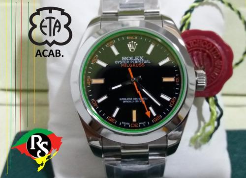 dc02197d0fb Relogio Rolex Acab Eta Milgauss Dial Preto Top Safira Lxrs