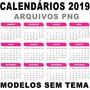 Templates Calendários 2019 Modelos Sem Tema