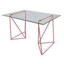 Mesa Cavalete 80x100cm Atz130 Tampo Vidro - Vermelho