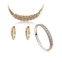 Colar + Brinco + Bracelete Banhado Ouro Branco 18k Feminino
