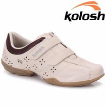 20% Off Sapatênis Kolosh Tênis Casual Bege Em Couro C0031