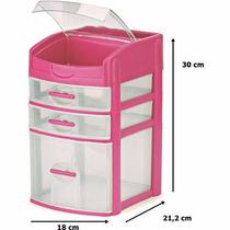 Gaveteiro 3 Gavetas Rosa Porta Maquiagem Organizador Oferta