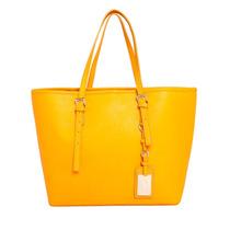 Bolsa Santa Lolla Shopper Grande Amarela Texturizado Novo